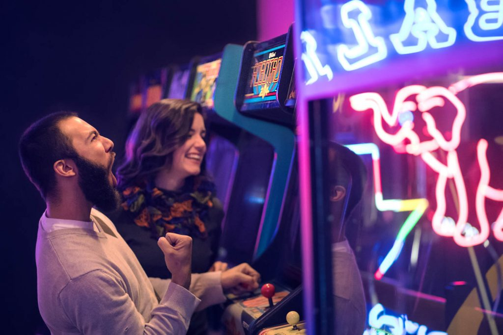 arcade shoot with neons